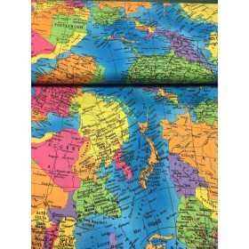 Baumwollstoff Weltkarte