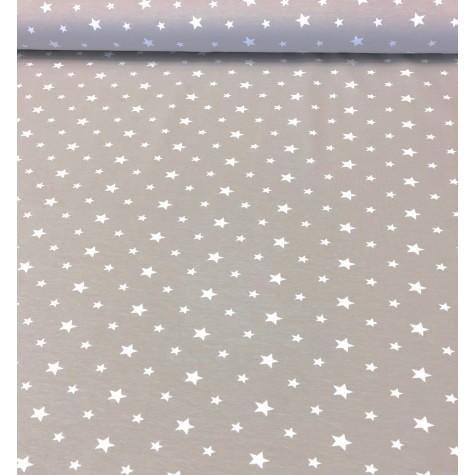 Jersey Stoff mit weißen Sternen - hellbraun