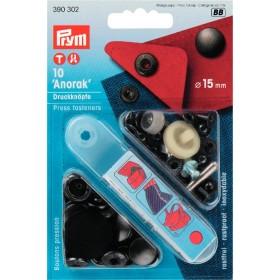 Druckknöpfe für Anorak schwarz 15 mm