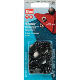 Druckknöpfe für Anorak schwarz 15 mm Nachfüllpackung