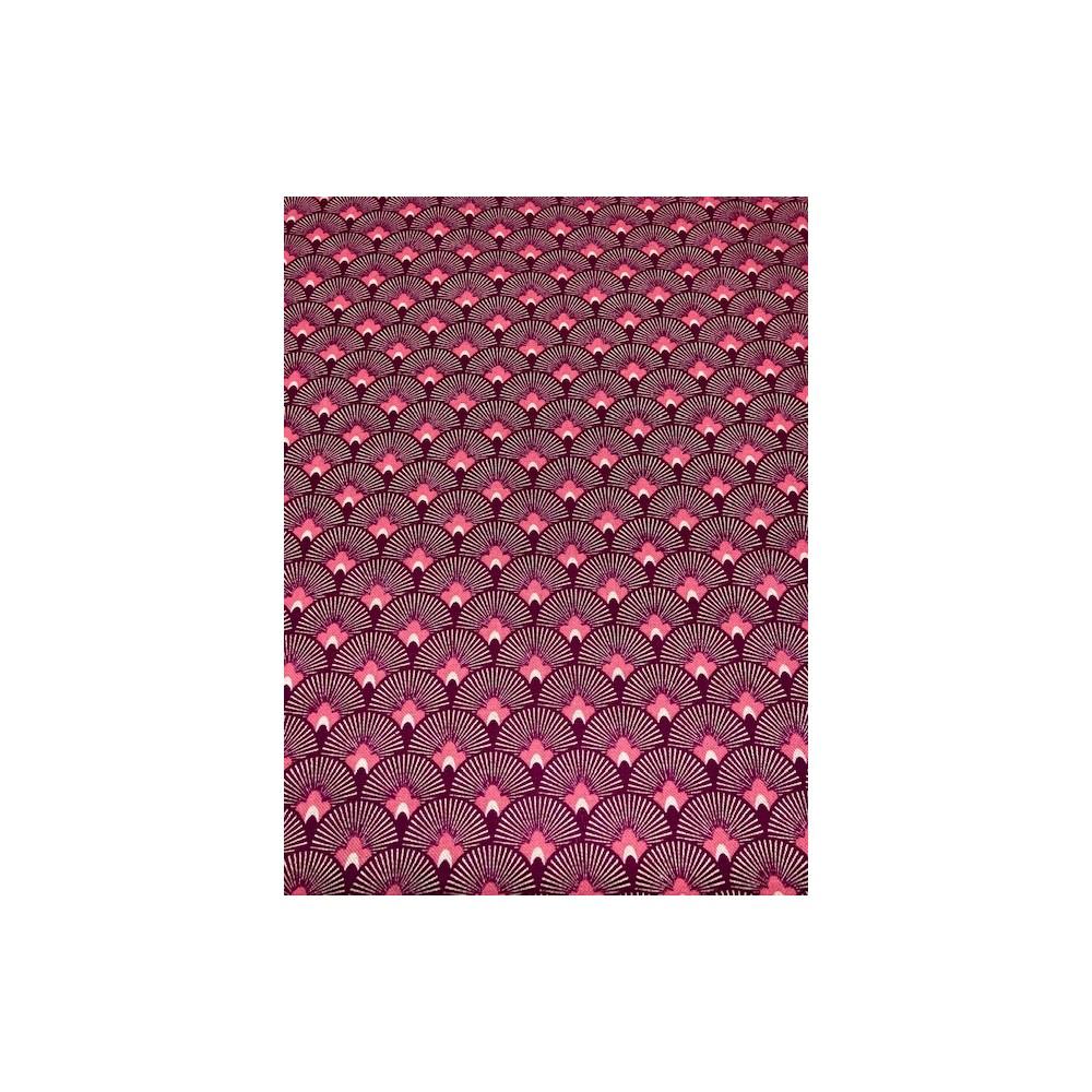 Dekostoff Muster rot / rosa / weiss