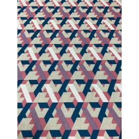 Dekostoff Dreiecke blau rot