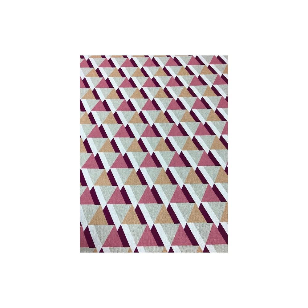 Dekostoff Muster Dreiecke rot beige