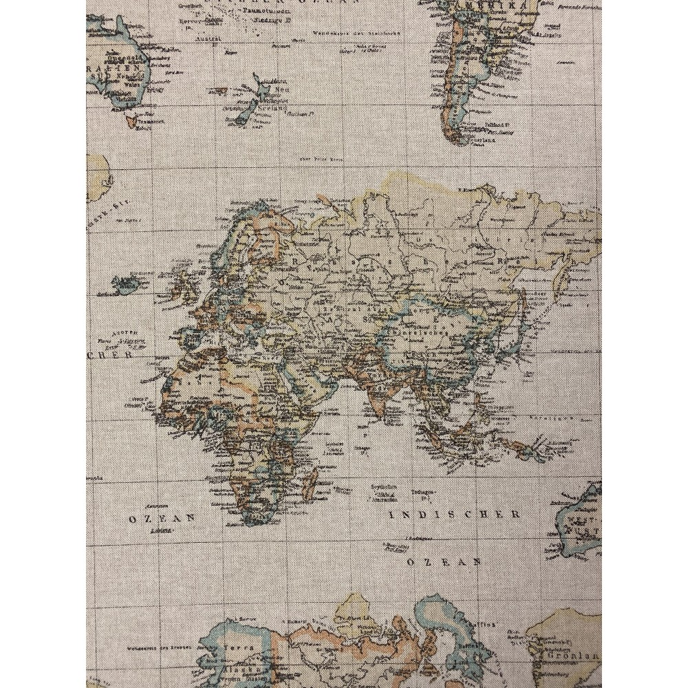 Dekostoff Weltkarte Kontinente beige