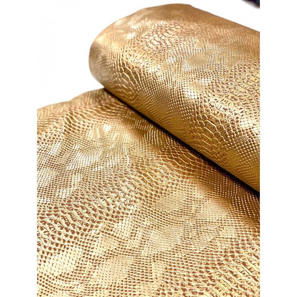 Kunstleder Schlangenmuster Gold