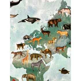 Dekostoff Weltkarte der Tiere