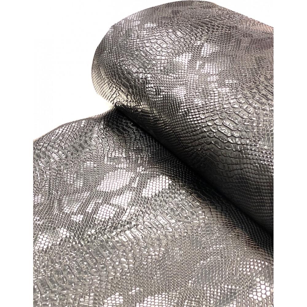 Kunstleder Schlangenmuster schwarz