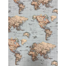 Dekostoff Weltkarte blau, Kontinente