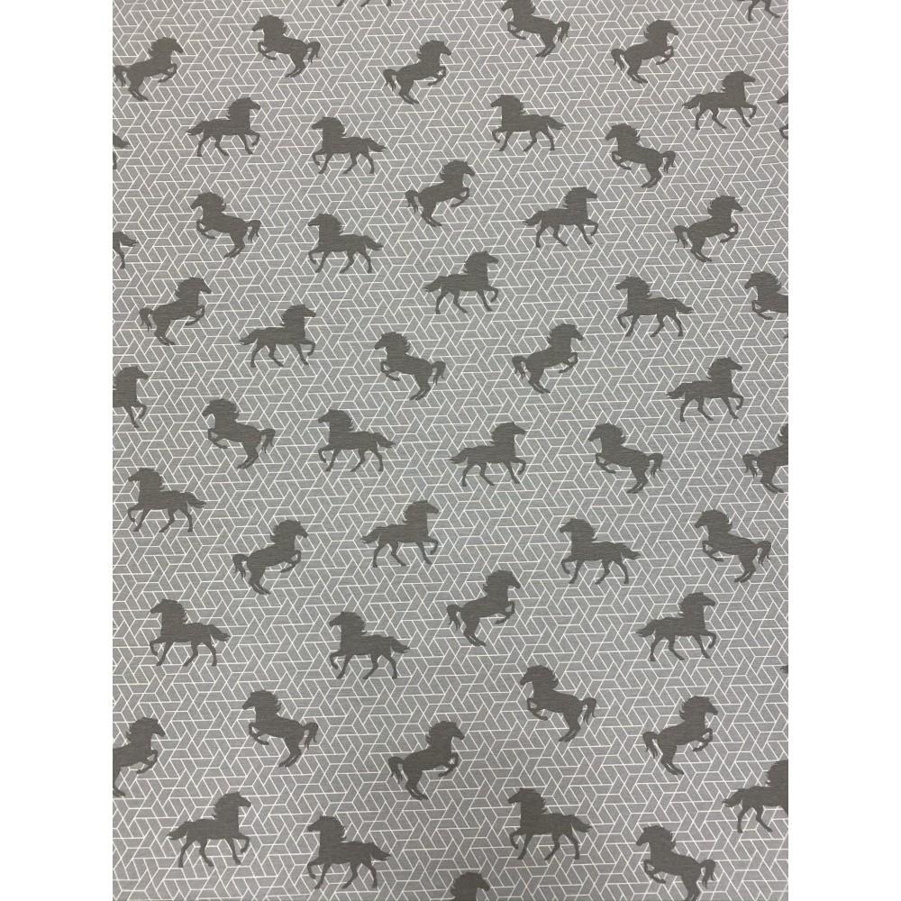 Dekostoff Muster Pferde grau