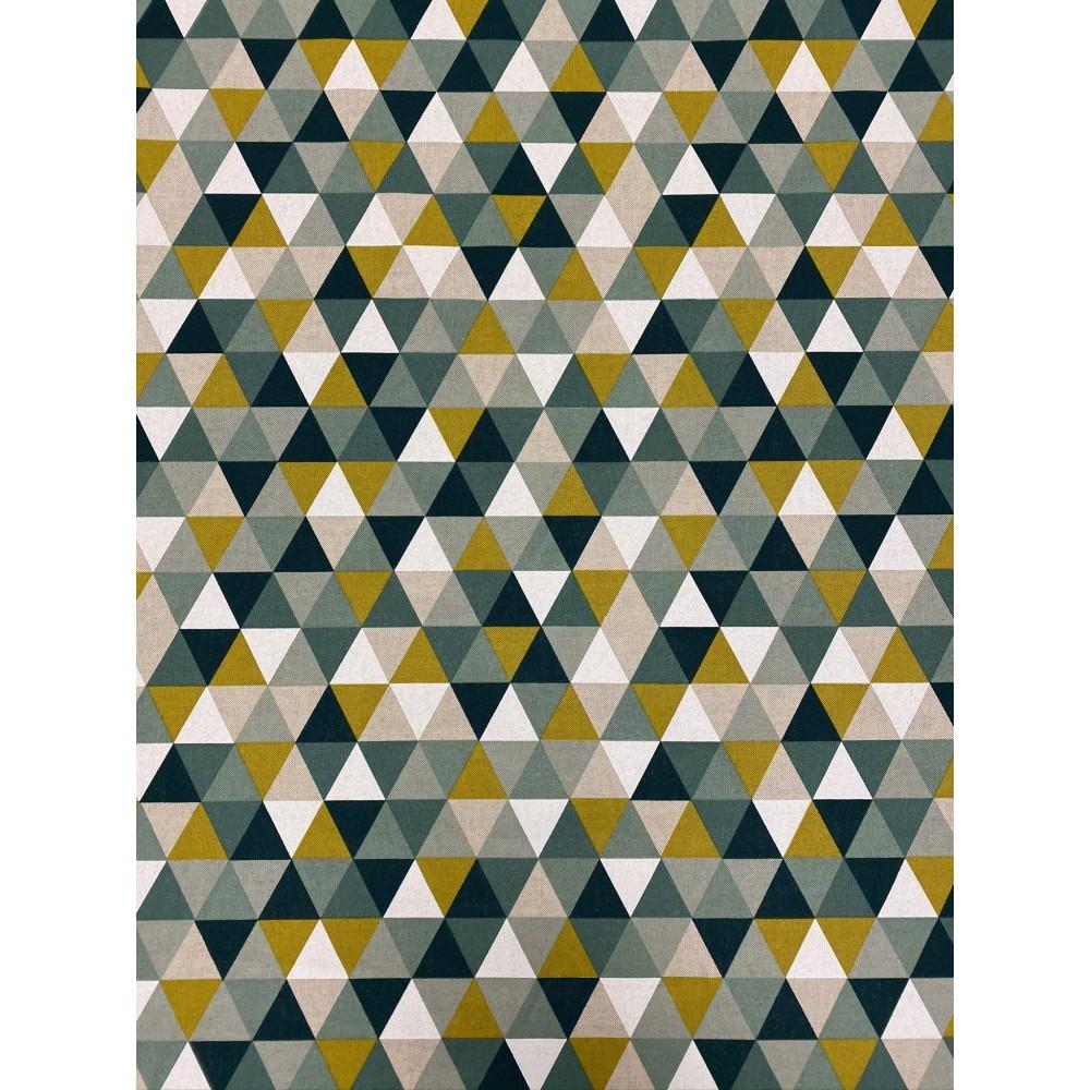 Dekostoff Muster Dreiecke grün blau