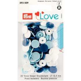 Druckknöpfe Color Snaps 12,4 mm Weiß Blau Hellblau