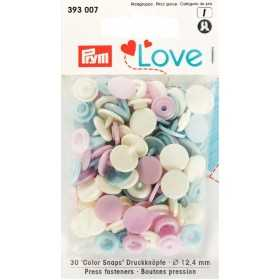 Druckknöpfe Color Snaps 12,4 mm Cremeweiß Rosa Hellblau