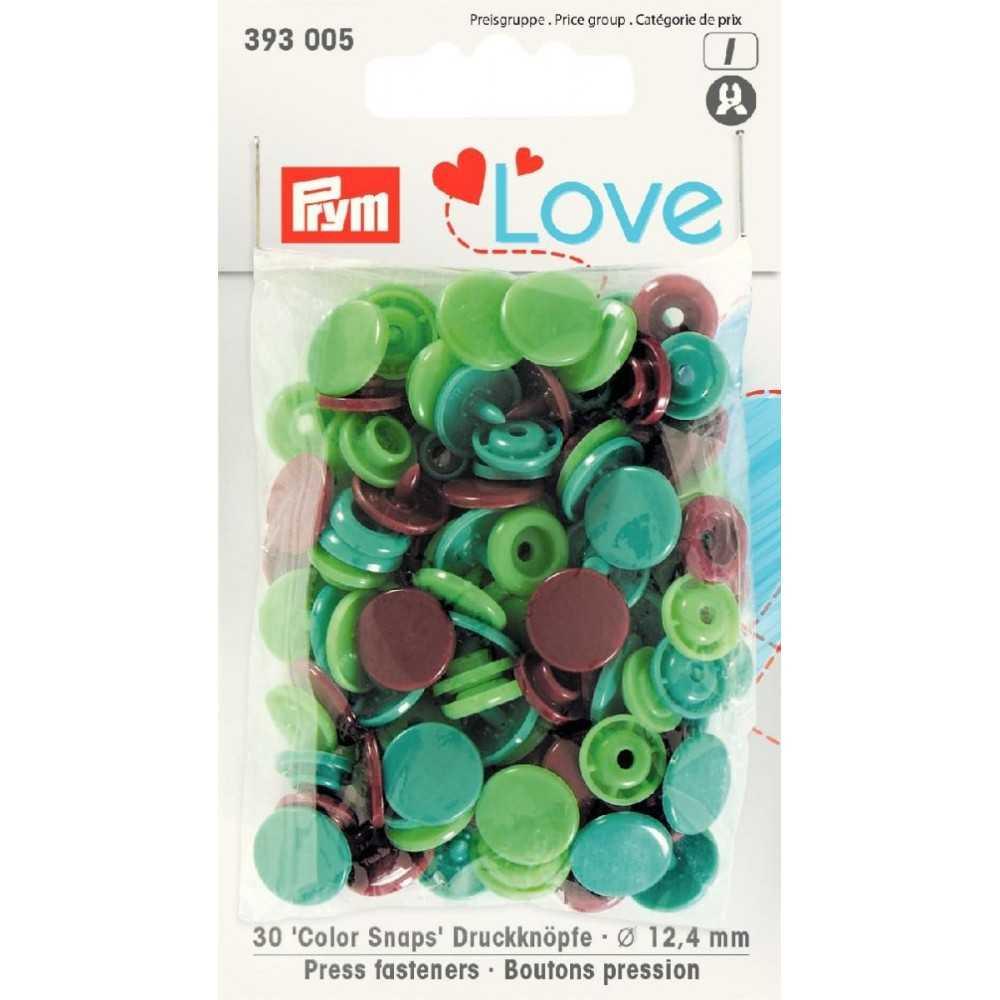 Druckknöpfe Color Snaps 12,4 mm Grün Mint Braun
