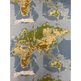 Dekostoff Weltkarte bunt, Kontinente