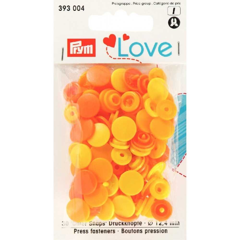 Druckknöpfe Color Snaps 12,4 mm in Zitrone Sonnenblume Orange