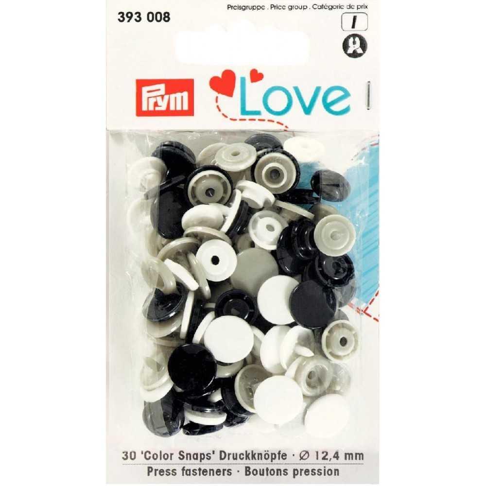 Druckknöpfe Color Snaps 12,4 mm Weiß Grau Schwarz