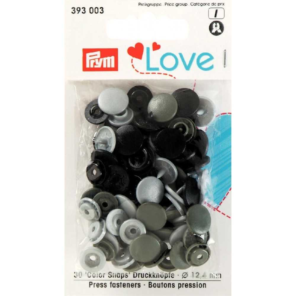 Druckknöpfe Color Snaps 12,4 mm Silbergrau Grau Schwarz