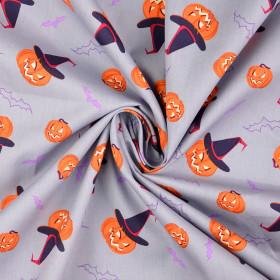 Baumwolle Halloween Kürbis grau