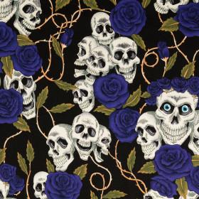 Baumwolle Halloween Totenkopf blau