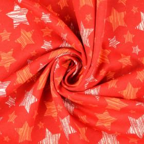 Sweatstoff Sterne Glitzer Rot Orange