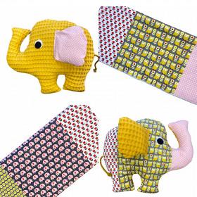 Baumwollstoff Patchwork Blumen Eule Elefant
