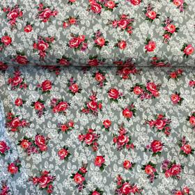 Baumwollstoff Rosen grau