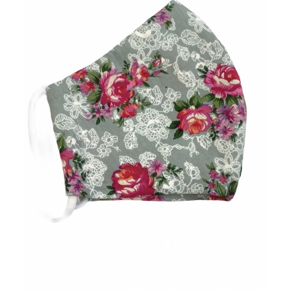 Behelfsmaske Erwachsene Rose grau S