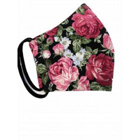 Behelfsmaske Erwachsene Rose schwarz S