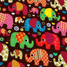 Baumwollstoff Elefant braun