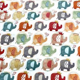 Baumwollstoff Elefant weiss