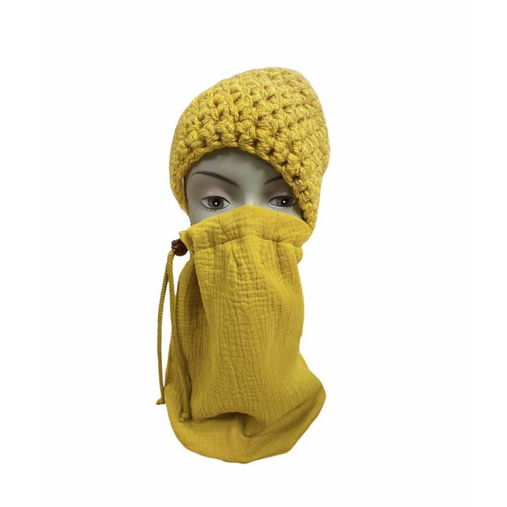 Loopschal Mund Nasen Bedeckung senf