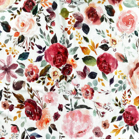 Jersey bunte Blumen WEISS