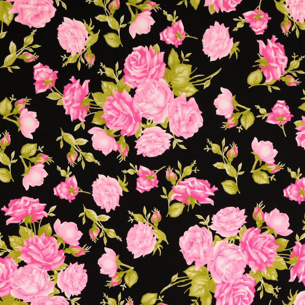 Baumwollstoff Rosen pink