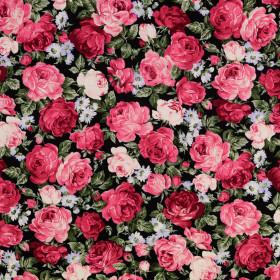 Baumwollstoff Rosen schwarz