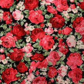 Baumwollstoff Rosen schwarz rot