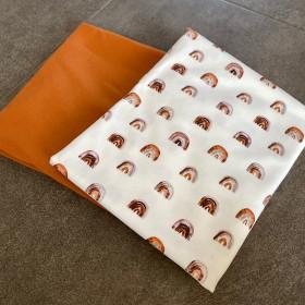 Stoffpaket 0,5m Jersey Motiv + 0,5m Uni Jersey Regenbogen
