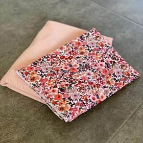 Stoffpaket Blumen 0,5m Jersey Motiv + 0,5m Rib Ottoman