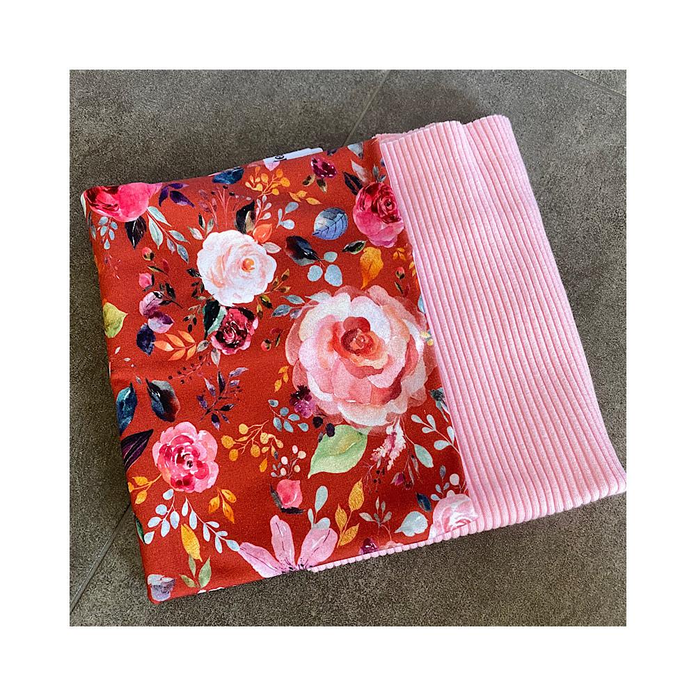 Stoffpaket Blumen ROST 0,5m Jersey Motiv + 0,5m Ribbündchen